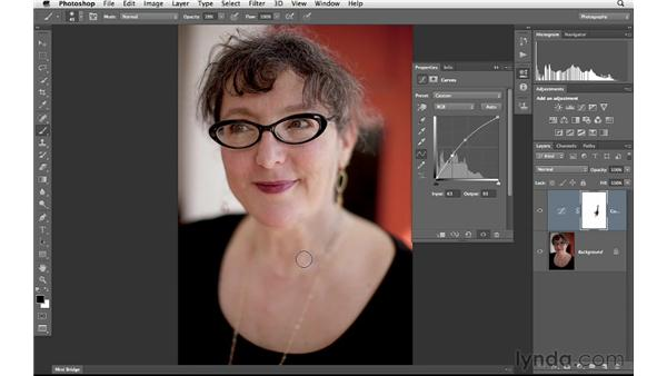Fixing exposure and color with curves: Photoshop for Photographers: Portrait Retouching