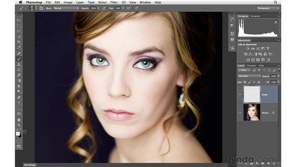 Using Soft Light layer blending to burn and dodge: Photoshop for Photographers: Portrait Retouching