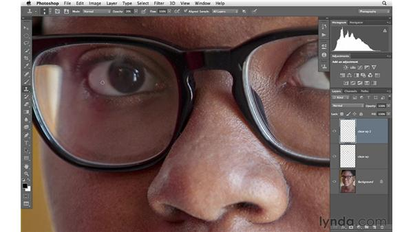 Removing eye veins and sharpening eyes behind glasses: Photoshop for Photographers: Portrait Retouching
