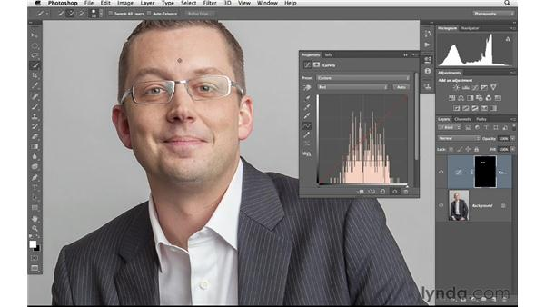 Correcting color and tone behind glasses: Photoshop for Photographers: Portrait Retouching