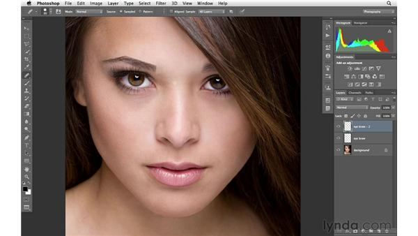 Trimming eyebrows: Photoshop for Photographers: Portrait Retouching
