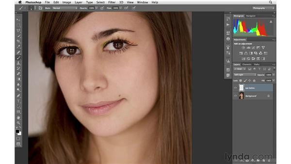 Adding mascara to darken eyelashes: Photoshop for Photographers: Portrait Retouching