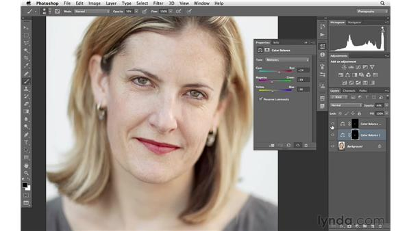 Using Color Balance and blending modes to improve the look of lips: Photoshop for Photographers: Portrait Retouching