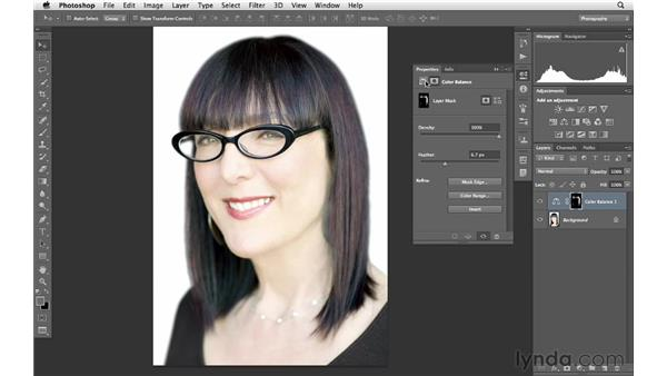 Making creative color adjustments to hair: Photoshop for Photographers: Portrait Retouching