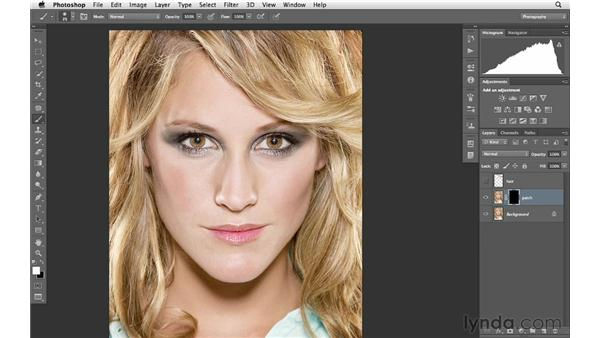 Patching a gap in hair: Photoshop for Photographers: Portrait Retouching