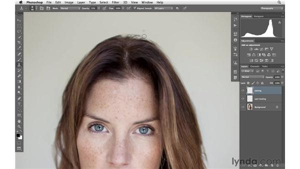 Removing flyaway hairs: Photoshop for Photographers: Portrait Retouching