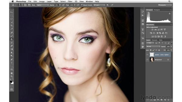 Brightening shadow areas on the face: Photoshop for Photographers: Portrait Retouching