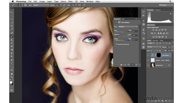 Adding color to the cheeks and eyelids: Photoshop for Photographers: Portrait Retouching
