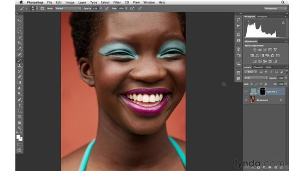 Modifying eye makeup color: Photoshop for Photographers: Portrait Retouching