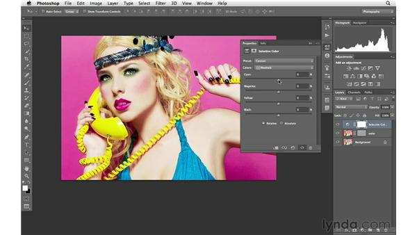 Using Selective Color to create vibrant color  : Photoshop for Photographers: Portrait Retouching