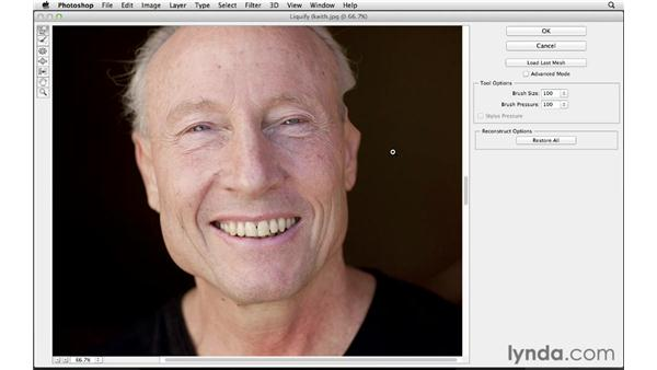 Reshaping a jawline with Liquify: Photoshop for Photographers: Portrait Retouching