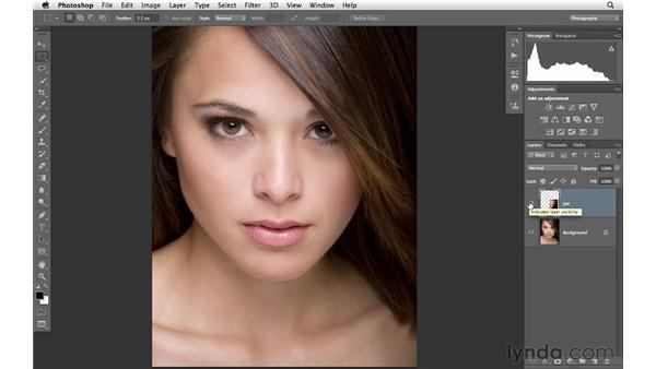 Using the Warp tool to reshape a jawline: Photoshop for Photographers: Portrait Retouching