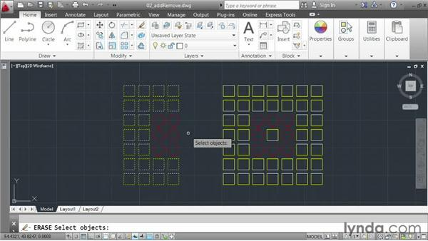 Adding to and removing from selections: AutoCAD 2013 Essentials: 03 Editing and Organizing Drawings