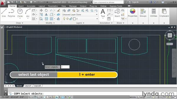 Using keyboard shortcuts: AutoCAD 2013 Essentials: 03 Editing and Organizing Drawings