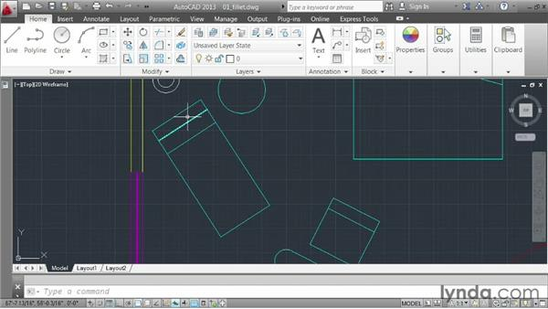 Creating fillets: AutoCAD 2013 Essentials: 03 Editing and Organizing Drawings