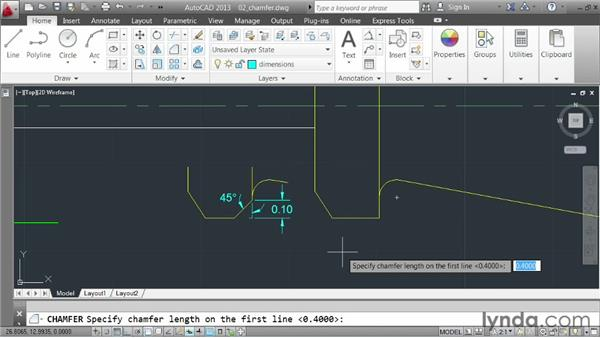 Creating chamfers: AutoCAD 2013 Essentials: 03 Editing and Organizing Drawings