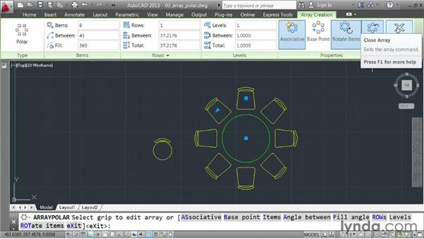 Creating a rotational array: AutoCAD 2013 Essentials: 03 Editing and Organizing Drawings