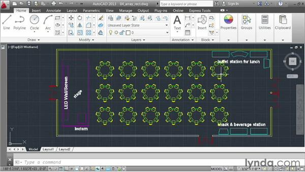 Creating a rectangular array: AutoCAD 2013 Essentials: 03 Editing and Organizing Drawings