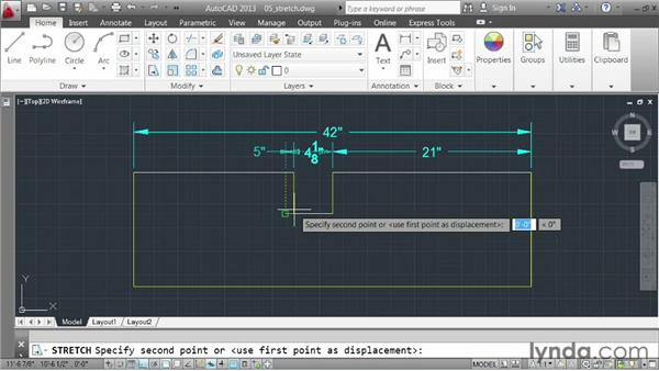 Stretching elements: AutoCAD 2013 Essentials: 03 Editing and Organizing Drawings