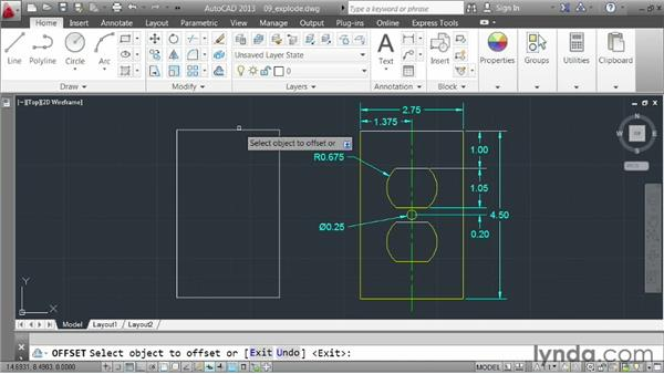 Exploding elements: AutoCAD 2013 Essentials: 03 Editing and Organizing Drawings