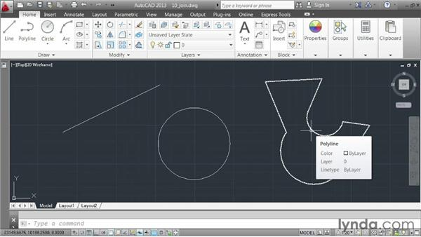 Joining elements together: AutoCAD 2013 Essentials: 03 Editing and Organizing Drawings