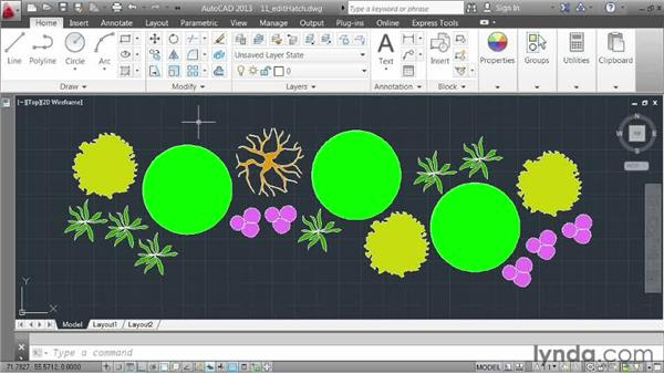 Editing hatch patterns: AutoCAD 2013 Essentials: 03 Editing and Organizing Drawings