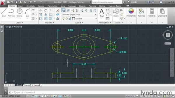 Changing layer states using the Layer control: AutoCAD 2013 Essentials: 03 Editing and Organizing Drawings