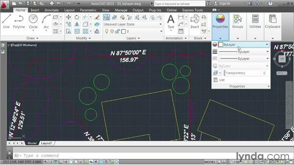 Understanding the ByLayer property: AutoCAD 2013 Essentials: 03 Editing and Organizing Drawings