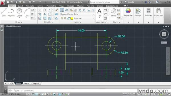 Using existing geometry to set the current layer: AutoCAD 2013 Essentials: 03 Editing and Organizing Drawings