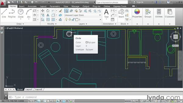 Selecting objects that are similar: AutoCAD 2013 Essentials: 03 Editing and Organizing Drawings