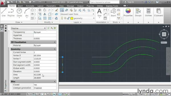 Automating calculations using QuickCalc: AutoCAD 2013 Essentials: 03 Editing and Organizing Drawings