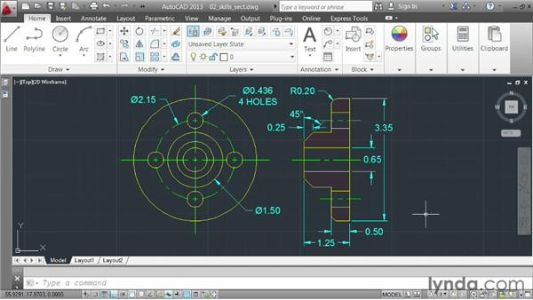 Challenge: constructing a multiview part: AutoCAD 2013 Essentials: 03 Editing and Organizing Drawings