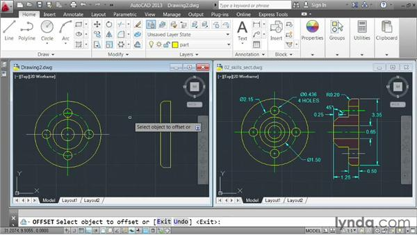 Demo: constructing a multiview part: AutoCAD 2013 Essentials: 03 Editing and Organizing Drawings