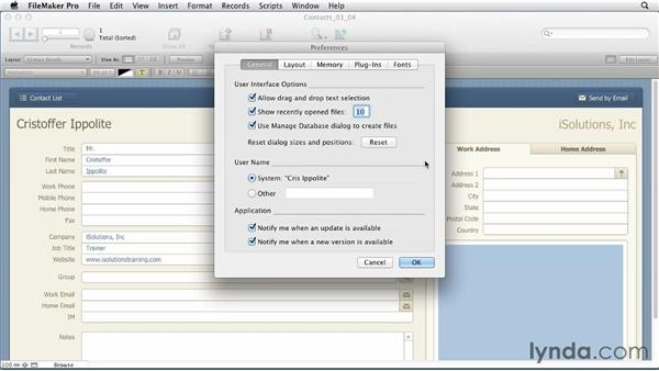 Touring essential preferences: FileMaker Pro 12 Essential Training