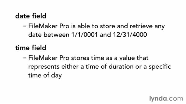 Understanding field types: FileMaker Pro 12 Essential Training