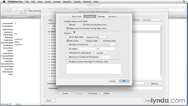Using field validation options : FileMaker Pro 12 Essential Training