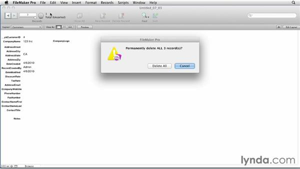 Deleting records and backing up files: FileMaker Pro 12 Essential Training