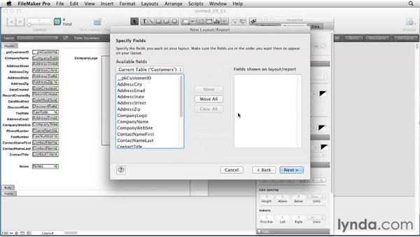 Using the Layout Assistant to create List views: FileMaker Pro 12 Essential Training