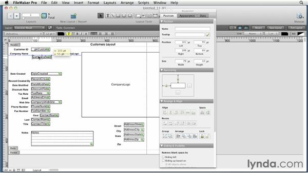 Using guides and arranging, aligning, grouping, and locking layout objects: FileMaker Pro 12 Essential Training