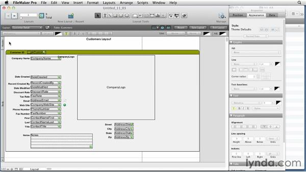 Placing and formatting objects, parts, graphics, and image fills: FileMaker Pro 12 Essential Training