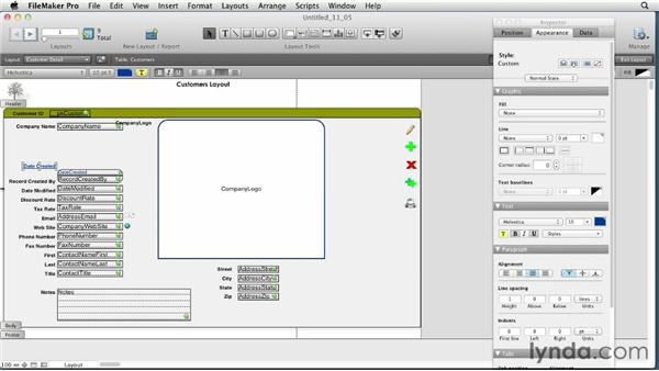 Formatting fields and applying field attributes: FileMaker Pro 12 Essential Training