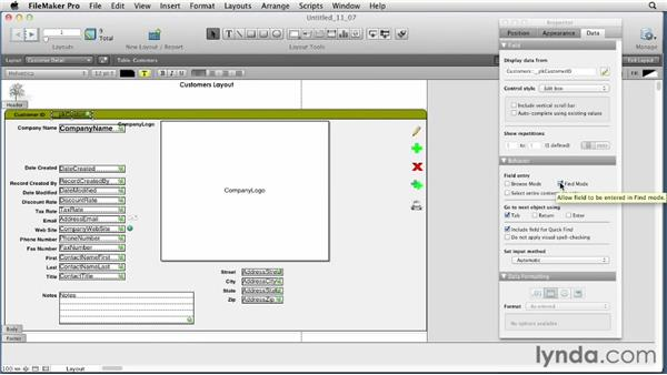 Setting field behaviors: FileMaker Pro 12 Essential Training
