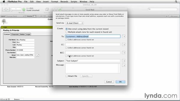 Reviewing the Send Mail script option: FileMaker Pro 12 Essential Training