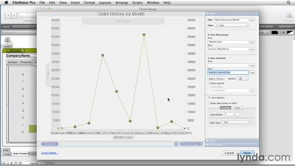 Adding charts with related data to layouts: FileMaker Pro 12 Essential Training