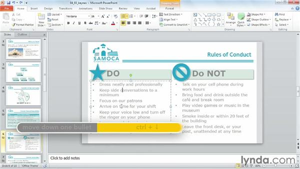 Navigating with the keyboard: PowerPoint 2010 Power Shortcuts