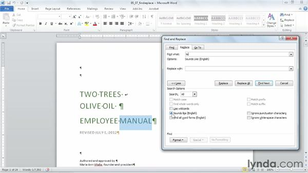 Using advanced Find and Replace techniques: Word 2010 Power Shortcuts
