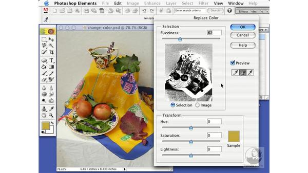 replace color and remove color commands: Learning Photoshop Elements 2