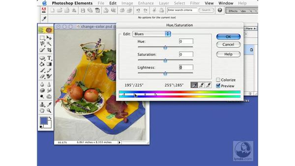 changing color with the hue/saturation command: Learning Photoshop Elements 2