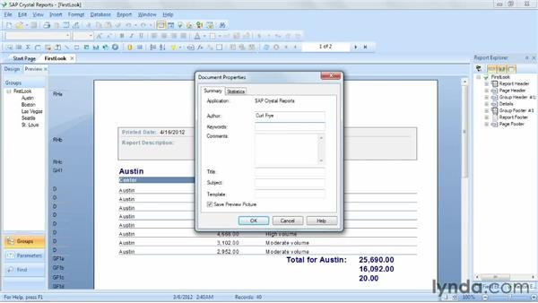 Assigning report properties: Crystal Reports 2011 Essential Training