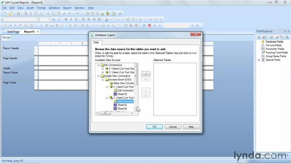 Linking to a source with multiple tables: Crystal Reports 2011 Essential Training